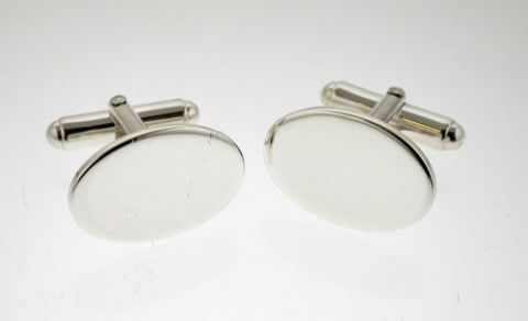 Sterling Silver Plain Hallmarked Oval Cufflinks